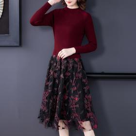 AHM-lbh9685新款时尚气质优雅刺绣显瘦裙子TZF