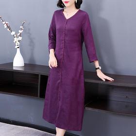 AHM-ky0062新款显瘦收腰棉麻连衣裙TZF
