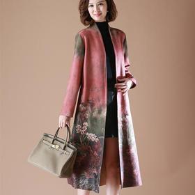 QY-12988秋新款洋气鹿绒气质中老年妈妈秋装中长款过膝外套