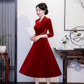 QQ9748新款改良修身金丝绒刺绣中式连衣裙TZF