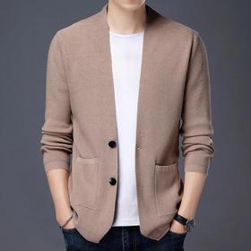WTHF-6617秋冬休闲男士V领纯色单排扣针织开衫