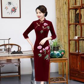 【清仓特价 不退不换】QYQ19013新款中国风改良丝绒旗袍TZF