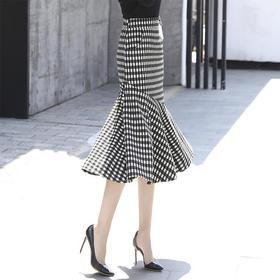 SX-1112秋格子毛呢加厚包臀荷叶边半身裙