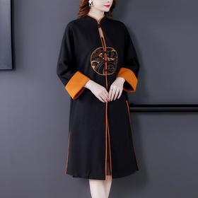 AHM-qyy9832新款复古时尚宽松刺绣风衣外套