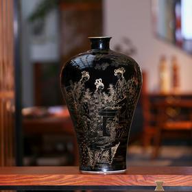 乌金釉掐丝金陵十二钗梅瓶