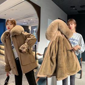 【寒冰紫雨】派克服加绒加厚超密大毛领大口袋羽绒棉服女装新品 简约短款羽绒棉服学院风面包服   CCCYQ9602