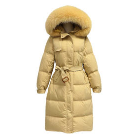 【寒冰紫雨】女装新品超密大毛领羽绒棉服 简约中长款羽绒棉服学院风面包服   CCCYQ9619