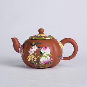 御制珐琅彩福寿紫砂壶·寿满天年彩桃壶