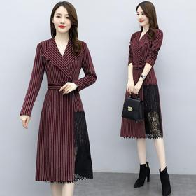 HRFS-WO68659秋冬蕾丝拼接毛呢连衣裙TZF
