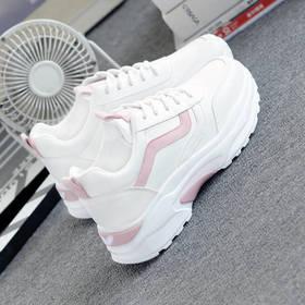 PDD-小白鞋女学生皮面春季夏新款网面透气厚底韩版百搭运动鞋