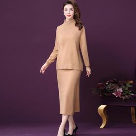 WXY-W-LH-19-28纯羊毛针织衫高领半身裙两件套
