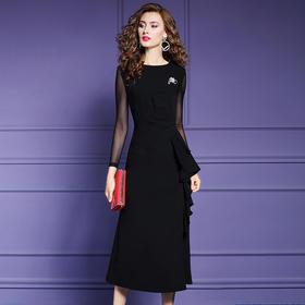 FMY-FX9QL26464女长袖秋装法式修身过膝长裙礼服裙
