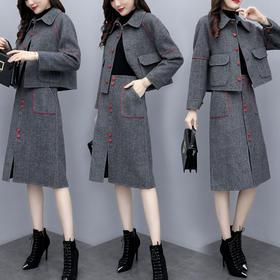 HT-1140秋冬装纯色两件套裙TZF