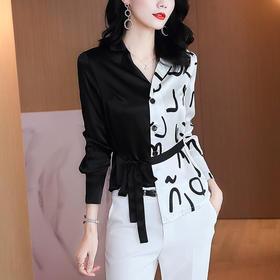 MQQ-AB437526DCX缎面黑白色上衣西装领系带收腰显瘦不规则设计感衬衫