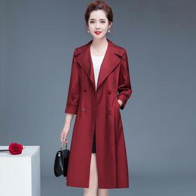 YW-HSY-Y2C032时尚气质中长款显瘦七分袖风衣外套