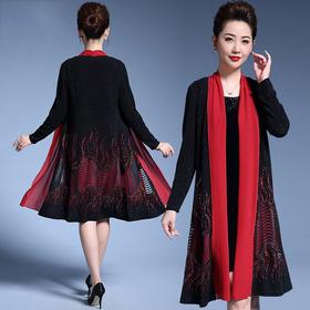 MY-59057中老年女装妈妈装外套纯色绣花中长款大码女士高档风衣