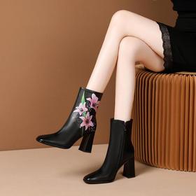 OLD-N630-W6230民族风复古印花加绒马丁靴