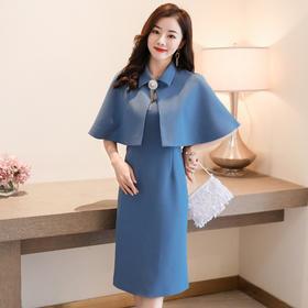 LJY-HR8088-03-13气质修身显瘦纯色V领无袖连衣裙两件套