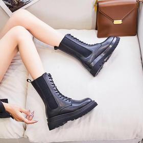 【明星同款】新款中筒绑带马丁靴厚底增高短靴春秋单靴显高显瘦 时尚帅气冬季女款高帮百搭马丁靴