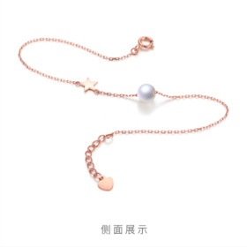 18K手链18K玫瑰金手链AU750彩金细款白色珍珠手链手串