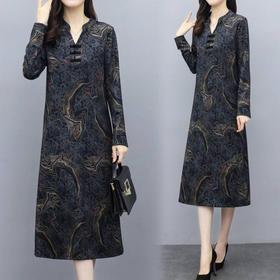 MQQ-8021旗袍改良版连衣裙气质显瘦过膝长裙2020新款冬季打底裙