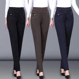 PDD-中老年人女裤大码高腰弹力妈妈裤子新款直筒裤中年女裤休闲裤