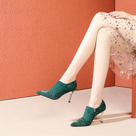 OLD-F6052新款细跟尖头羊皮水钻单鞋TZF