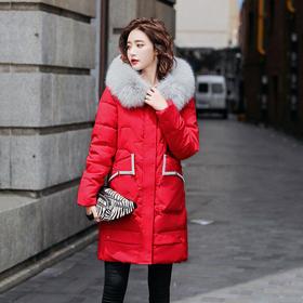 【寒冰紫雨】学院风超密大毛领羽绒棉服女装新品 简约中长款羽绒棉服大口袋面包服   CCCYQ4570