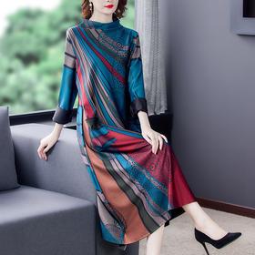 AHM-aswy3089新款时尚气质优雅宽松印花裙TZF