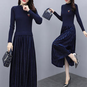 MQQ-A142C563长款气质收腰显瘦针织百褶打底连衣裙