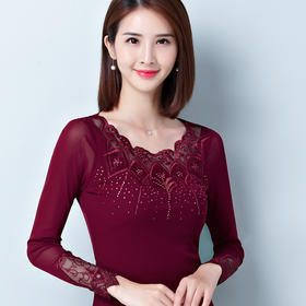 LXG-2020绣花长袖大码纱衣T恤烫钻小衫