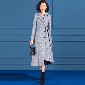 SSGS-T374女神范毛呢外套秋冬收腰不规则下摆中长款气质呢子大衣