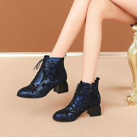 OLD-528-40蕾丝高跟粗跟尖头女靴TZF