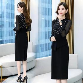 WZNH-ANY261韩版气质显瘦包臀假两件连衣裙