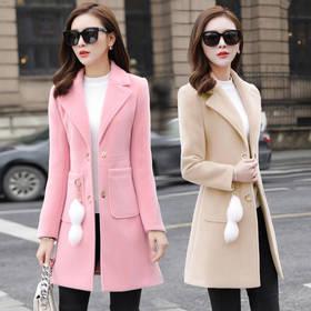 PDD-毛呢外套女中长款韩版2020秋冬装小个子修身呢子外套