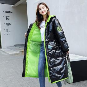 【寒冰紫雨】亮面撞色羽绒棉衣派克服外套女装新品 简约中长款魔术贴长袖撞色衣领加厚面包服    CCCYQ4567