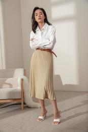 Kira&Yanng 针织百褶半身裙 显瘦遮肚过膝款法式复古中长款伞裙
