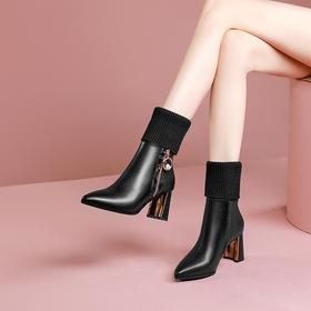 OLD-6217新款加绒马丁靴尖头粗跟毛线口短靴