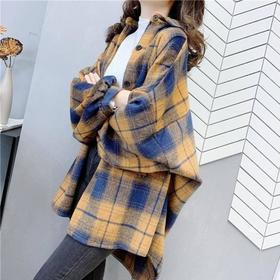 PDD-2020春秋新款韩版衬衣小香风复古磨毛格子衬衫