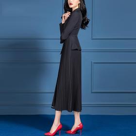 SSGS-S667秋装收腰显瘦高端大气黑色百褶裙摆拼接外套