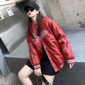 【寒冰紫雨】免洗PU皮羽绒棉服短款外套 嘻哈风大码学生棒球服大学生情侣外衣服  CCCYQ9816