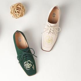 ALS-FHHD738新品真皮女士单鞋休闲中跟粗跟细带丝绸牛皮女鞋
