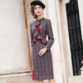 FMY-FX9DL27907秋冬高冷成熟时尚显瘦修身荷叶边包臀裙