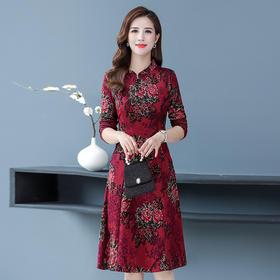 MQ-1153-031秋季新款复古印花中长款显瘦旗袍连衣裙YY