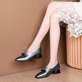 MYL-A83-2秋季蝴蝶结中跟女鞋头层牛皮方头女式单鞋牛筋底深口低帮鞋