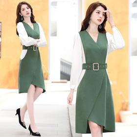 CQ-YIXG6065秋季新款优雅修身时尚拼色连衣裙TZF