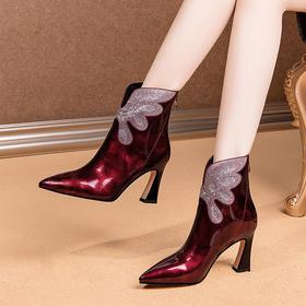 OLD-C367新款尖头粗跟真皮靴子
