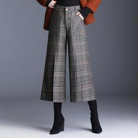 QJBH-KDFY-7297秋冬新款韩版休闲格子羊毛呢阔腿裤