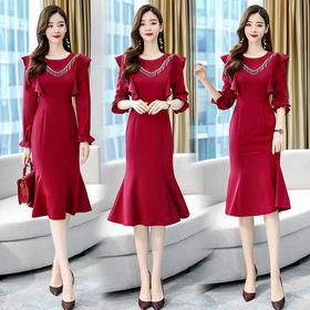 WZNH-AYD80911秋装女神范温柔风长裙