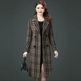 PDD-毛呢外套女中长款秋冬新款长款过膝加厚保暖千鸟格子毛呢大衣